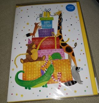 Childs Fancy Birthday Card with Stickers