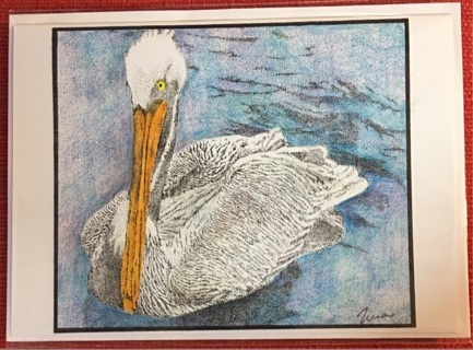 """FLOATING PELICAN - 5 x 7"""" art card by artist Nina Struthers - GIN ONLY"""