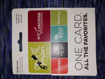 $50 G CARD TO OLIVE GARDEN, CHEDDERS,& AFFILIATED RESTAURANTS