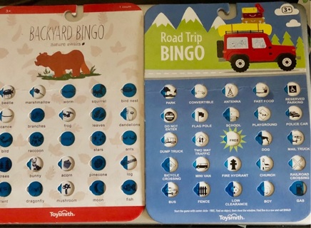 Brand New: 2 Large Bingo Cards. 1 Backyard Bingo, 1 Road Trip. Another Set Listed Also