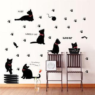 Hot Cute Black Cat Wall Stickers Removable Kitchen Wall Sticker Mural Home Decal