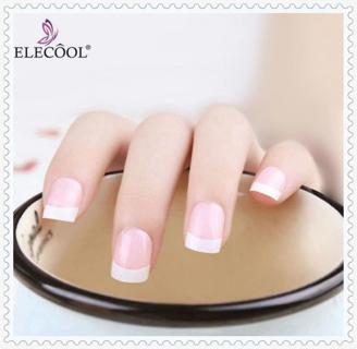 ELECOOL 24Pcs French Short Nails Fake Nail Art Classical Full Artificial Nails Dual Nail Forms Mol
