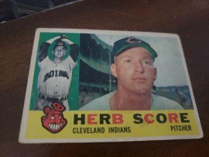 1960 Herb Score Cleveland Indians vintage baseball card