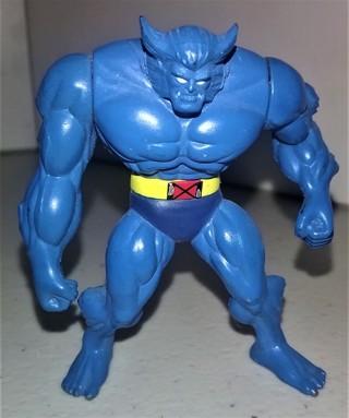 "1995 Marvel small (2 1/4"") dense plastic (3 oz.) articulated X-Men BEAST action figure"