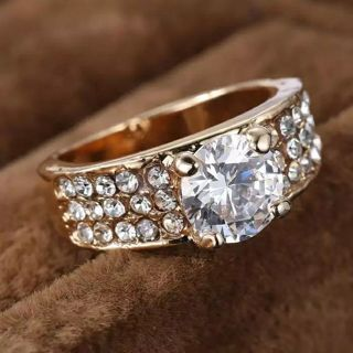 women wedding rings crystal Ring beautiful gold Ring for Brides Engagement Rings