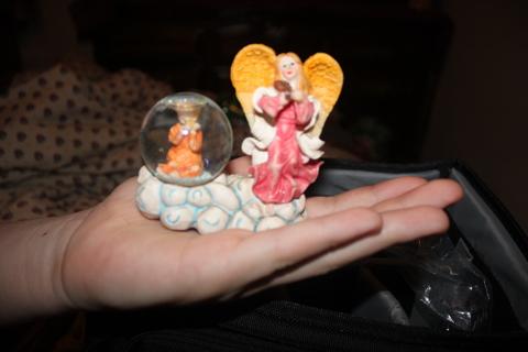Angel and snow globe