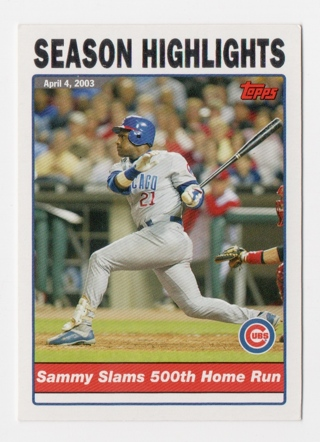 Free Gin Nmmt 2003 Cubs Sammy Sosa Slams 500th Home Run