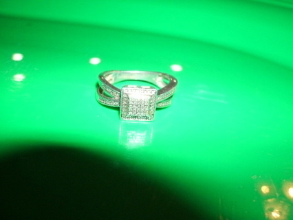 Sterling Silver Diamond Ring Size 7.5