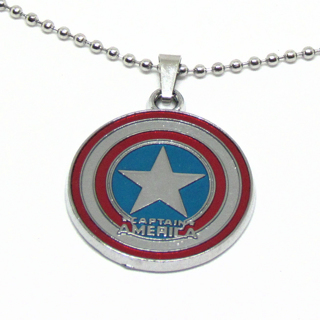 """Captain America Shield Necklace 18"""" Stainless Steel Ball Chain"""