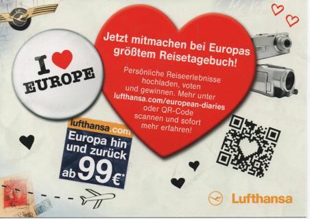 ad postcard * Lufthansa * I love europe