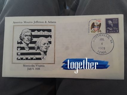 FDC (FIRST DAY COVER) ☆ America Mourns Jefferson & Adams ☆ FREE SHIPPING & GIN BONUS!