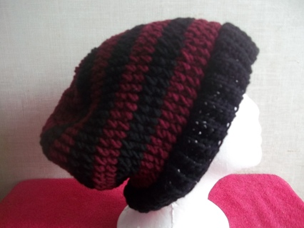 Hand Crocheted Burgundy and Black Striped Slouch Hat