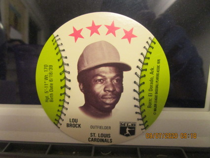 1976 LOU BROCK DISC - CARDINALS