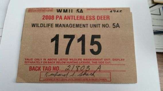 Free: One 2008 PA Antlerless Deer License - Camping