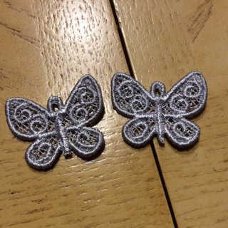 2 free standing lace butterfly's