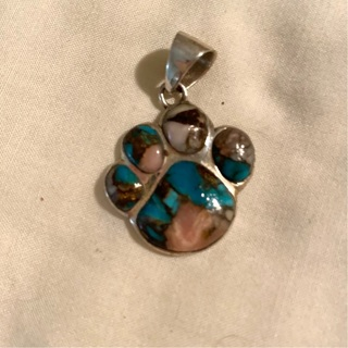 Sterling Silver Turquoise and Spiney  Oyster Paw Pendant