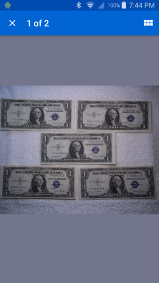 (5) 1935 CONSECUTIVE SILVER (ERROR) CERTIFICATES TWO SETS. NICE