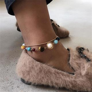 Women Fashion Planet Gem Beaded Gold and Silver Anklet Bohemian Charm Vintage Beach Jewelry
