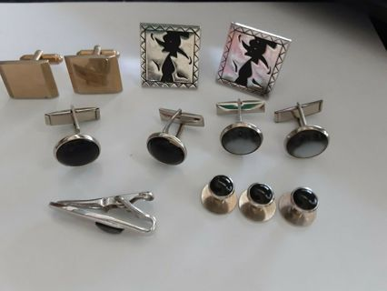 Group of Cuff links and tie clip