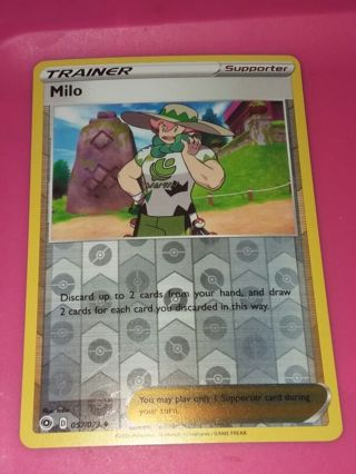 Rev Holo Champions Path Milo 057/073 Pokemon Card Unplayed NM
