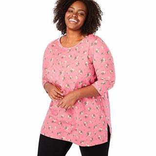 Woman Within Women's Plus Size Perfect Printed Three-Quarter Sleeve Tunic - SIZE 5X