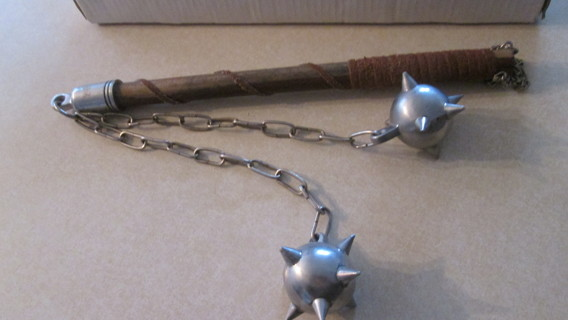 MEDIEVAL SPIKED FLAIL - Double Ball Flail  -  MACE