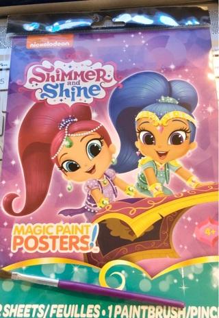 "BNIP Nickelodeon's: ""SHIMMER & SHINE"" Set: Multi Poster Sheets (Twelve) Paint Brush and Instructions"