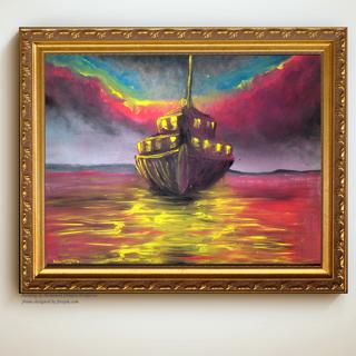 "Print ""through the lights"" of an  Original Painting ."