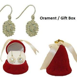 Gift box earrings snow flake flock bell NWT