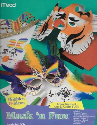 NEW Children's MASK 'N FUN Activity KIT in a BOOK by Mead Publications