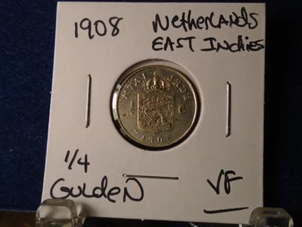 VF 1908 SILVER 1/4 GULDEN NETHERLANDS EAST INDIES!