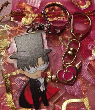 Sailormoon and Tuxedomask teeny keychains