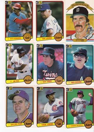(9) 1983 Donruss Baseball Star Cards