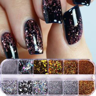 1 Case Nail Sequins Flakes Mixed Mini Round Hexagon Paillette Charm Nail Art Glitter Powder Dust P