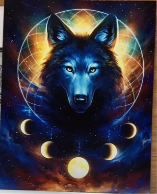 "WOLF WITH MOON PHASES - 3 x 5"" MAGNET"