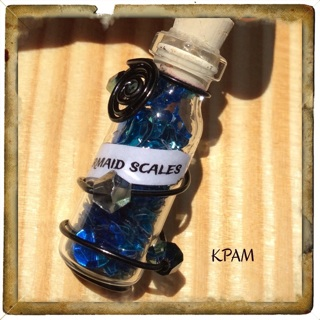 ミ★ Mermaid scales Necklace  !!★彡  blue sequence pieces filled vial & mermaid charm~