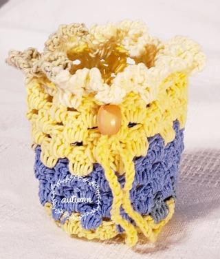 """Crochet Pull String Gift Bag, or Shower Favor Bags**LQQK*** 5""""Tall 4"""" Diam"""