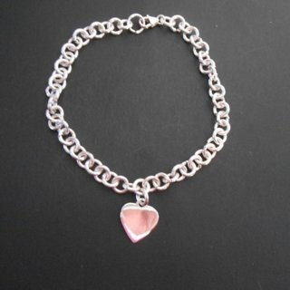 925 sterling silver heart charm bracelet-thick-hand crafted