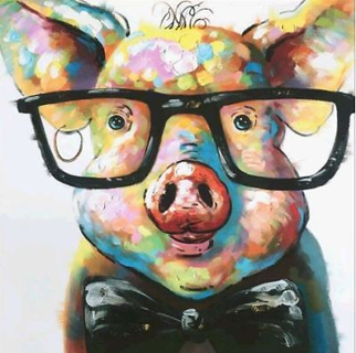 DIY 5D Diamond Painting Glasses Pig Animals Embroidery Patterns Rhinestones