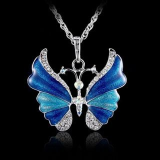1pcs, Butterfly Crystal Rhinestone Pendant Necklace