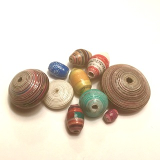 Paper beads, magazine pages, wallpaper, recycled