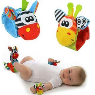 Multi shape Animal Soft Toy Baby Infant Kids Hand Wrist Bells Foot Sock Rattles