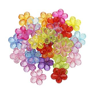 Mixed Transparent Crystal Color Accessories Acrylic Five Leaf Flowers Beaded 50pcs/Lot