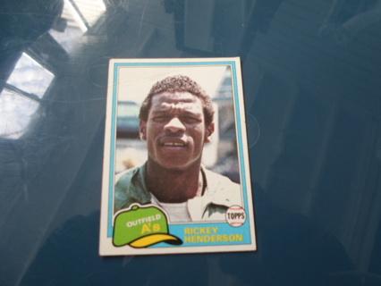 1981 Rickey Henderson Oakland A's Topps Baseball Card