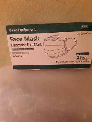 Brand New Box Of 25 Masks 3 Layers