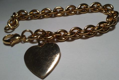 925 Sterling Silver Vermeil Heart charm bracelet NWT