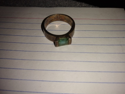 vintage Ring sterling silver stamped 925 crystal free shipping