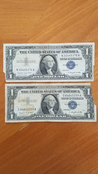 Two $1 Silver Certificates - Blue Seal Dollar - Vintage!
