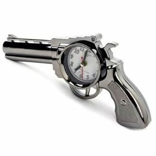 Fake Pistol Alarm Clock Desk Table Home Office Decorative Ornament