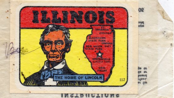 Vintage 1950's Impko Sticker/Decal: Illinois